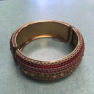 Jewelry - Plastic bangle with bead patterns and rhinestones